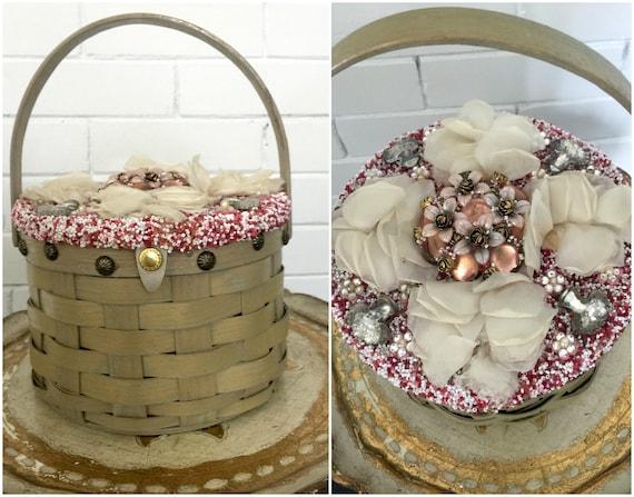 Vintage 1950s Beaded Basket Purse