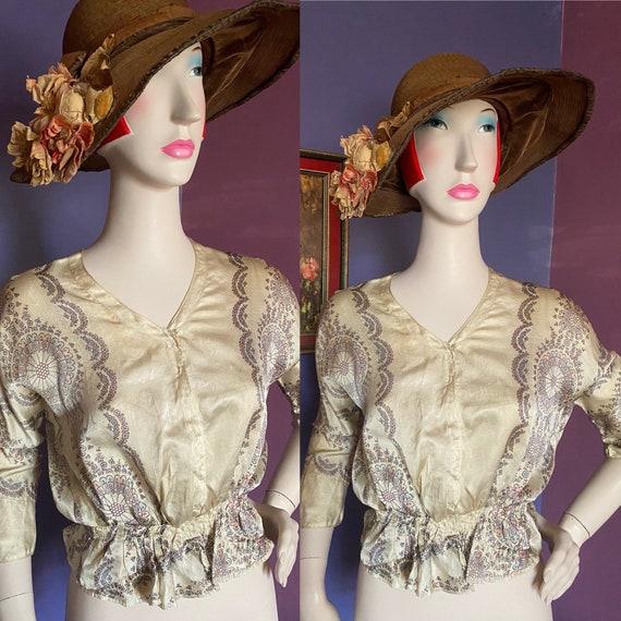 Vintage Edwardian 1910 Printed Silk Blouse XS
