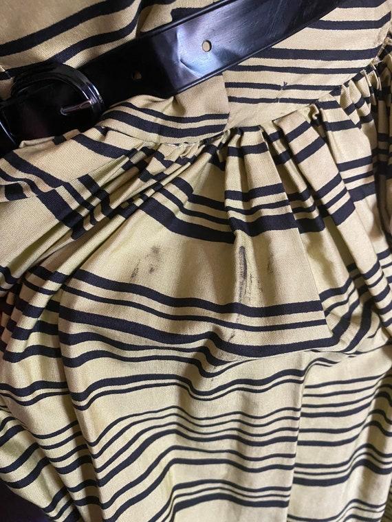 Vintage 1950s Horrockses Chartreuse Striped Dress… - image 9