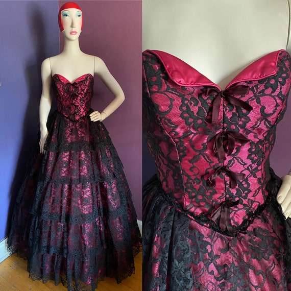 Vintage 1980s Black and Pink Lace Gown XS S