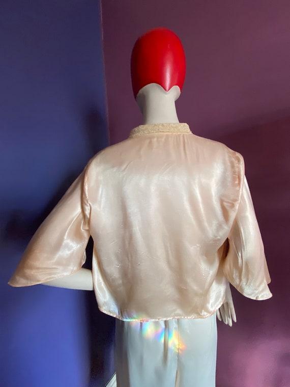 1930s Silk Satin Bed Jacket XS S - image 6