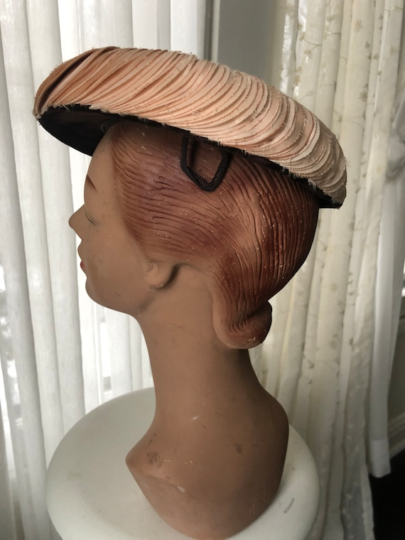 Vintage 1950s 1960s Chocolate Brown Velvet and Bl… - image 4