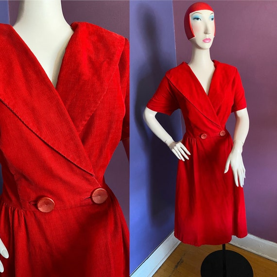 Vintage 1950s Volup Red Corduroy Dress XL