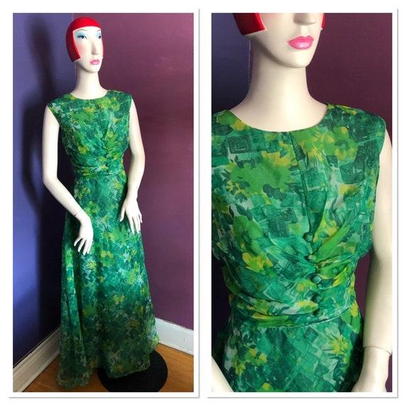 Vintage 1970s Emerald Floral Print Chiffon Maxi Dr
