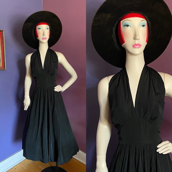 Vintage 1950s Halter Dress M L XL Volup