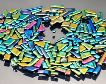 Mosaic Bits & Pieces, Dichroic Tiles, Small and Tiny Tiles, Handmade Tiles, Mosaic Tiles,  Mosaic Tile Pieces, Glass Tiles for Mosaic