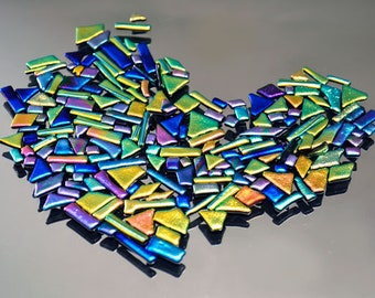 Mosaic Pieces, Dichroic Glass Tiles, Mosaic Triangle, Diamonds, Rectangle and Square Tiles, Decorative Tiles in Bright & Vivid Colors