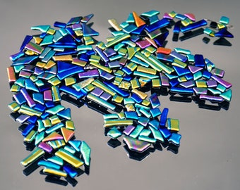 Mosaic Tiles, Mosaic Bits and Pieces, Dichroic Tiles, Rectangle Tiles, Assorted Bright & Colorful Handmade Glass Tiles, Decorative Tiles,