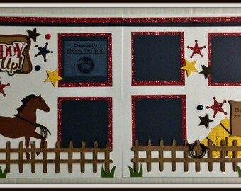 Giddy Up Horse Cowboy Western Themed Premade Scrapbook Layout 2 page 12x12