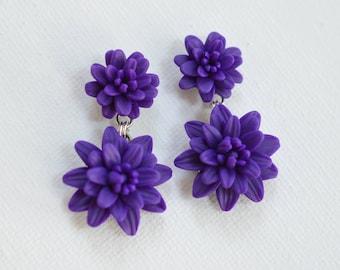 Double Deep Purple Dahlia Earrings . Statement Purple Dahlia Earrings. Two Flower Earrings.