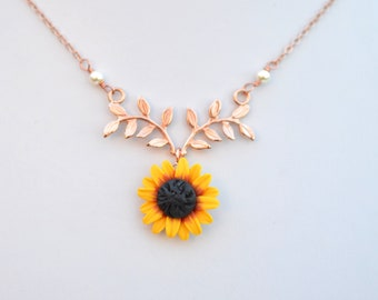Sunflower necklace etsy red yellow sunflower and leaf branch necklace leaf branch and flower drop necklace twig and sunflower necklace athena mightylinksfo