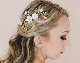 Sakura /Cherry Blossom and Metal Leaves. Adelle Bridal Hair Comb