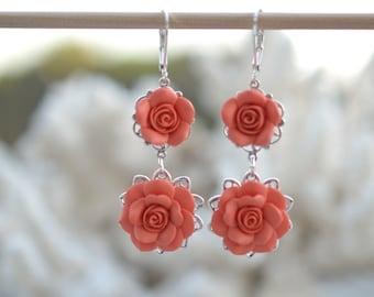 Coral Rose Earrings Bridesmaid Earrings Coral Flower Earrings Bridal Jewelry Summer Earrings