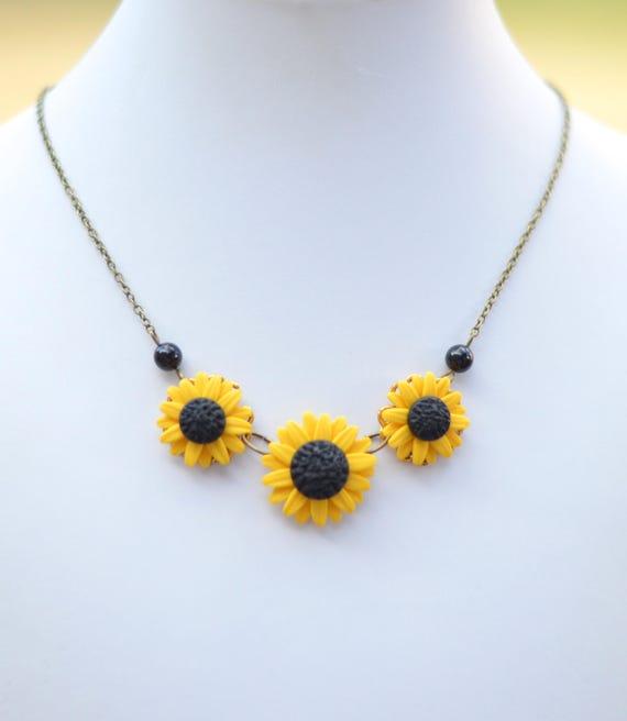 Yellow sunflower centered necklace sunflower necklace trio etsy image 0 mightylinksfo