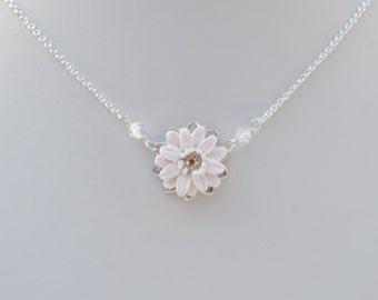 Simple Drop White Gerbera Daisy Necklace. Bridal Necklace in White Gerbera Daisy Necklace.