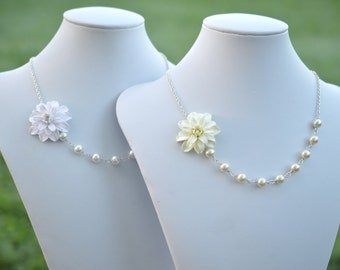 FREE EARRINGS, Ivory Dahlia Necklace, White Dahlia Necklace, Flower Necklace, Statement necklace, Bridesmaid Necklace.