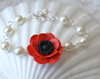 Red Poppy Bracelet, Blue Poppy Bracelet ,Red Flower bracelet, Bridesmaid Bracelet, Spring summer Bracelet, Flower Girl Bracelet