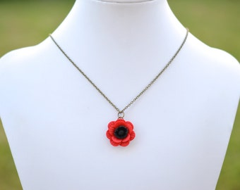 Red Poppy/Anemone Simple Drop Necklace. Red Poppy/Anemone  Necklace.