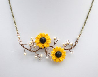 Yellow Sunflower Vine necklace. Double Sunflower Necklace. Flower vine necklace