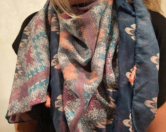 Blue Scarf with Tassles/Blue print scarf/Bohemian Scarf/Summer Tassles Scarf/Gift Scarf/Ladies Scarf