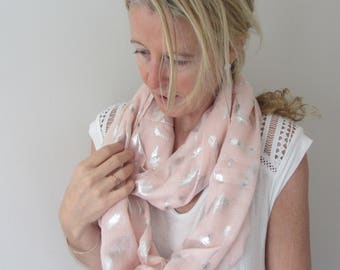 Pink and Silver Feather Infinity Scarf/Foil Feathers/Infinity Scarf/Summer Scarf/Evening Feather Scarf/Gift Scarf