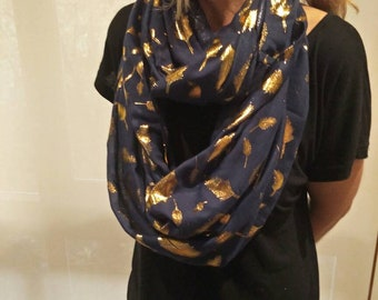 Gold Foil Feather Scarf Navy/Navy and Gold Feather Infinity Scarf/Infinity Scarf/Summer Scarf/Evening Feather Scarf/Gift Scarf