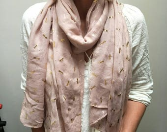 Gold Foil Dragonfly Scarf Cinnamon European Scarf Summer Scarf Evening Dragonfly Scarf Gift Scarf Dragonflies Beige Mother's Day