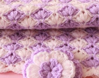 Crochet Blanket PATTERN, Baby Blanket Crochet Pattern, Lilac Lily Blanket, Flower Pattern, DIY Baby Blanket, Instant Download Pattern PDF #4
