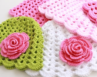 Crochet PATTERN, Baby Hat With Rose Flower Pattern, Baby Girl Gift, DIY Crafts, Instant Download, Digital Pattern Pdf #125, Lyubava Crochet