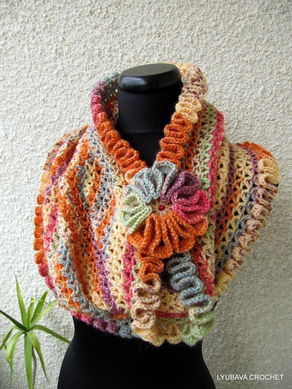 Crochet Cowl Scarf Pattern Happy Autumn Colors Scarf Diy Scarf