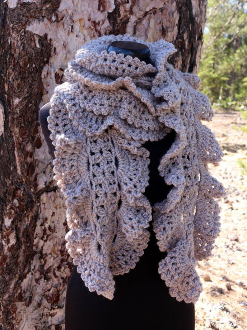 Crochet Scarf Pattern Chunky Ruffle Scarf Crochet PATTERN image 0