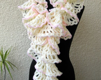 Crochet Scarf PATTERN, Ruffle Scarf Pattern Chunky Scarf Winter Honeymoon DIY Gift For Her, Instant Download PDF Pattern #47 Lyubava Crochet