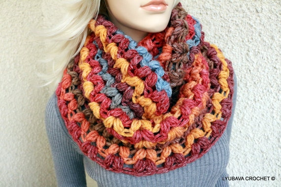Crochet Scarf PATTERN, Infinity Scarf Pattern, Crochet Puff Stitch ...