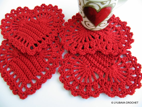 Red Heart Coasters PATTERN Crochet Heart DIY Gift Easy