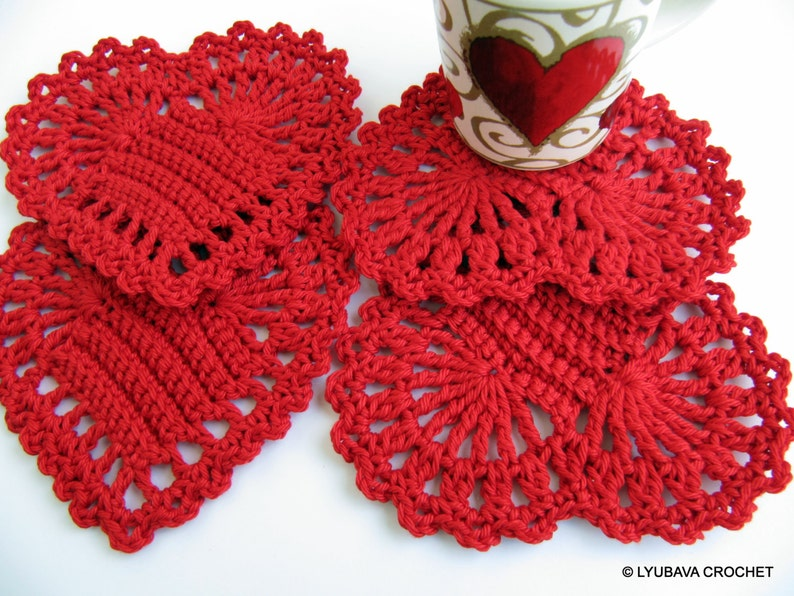Red Heart Coasters Pattern Valentines Day Gifts Diy Etsy