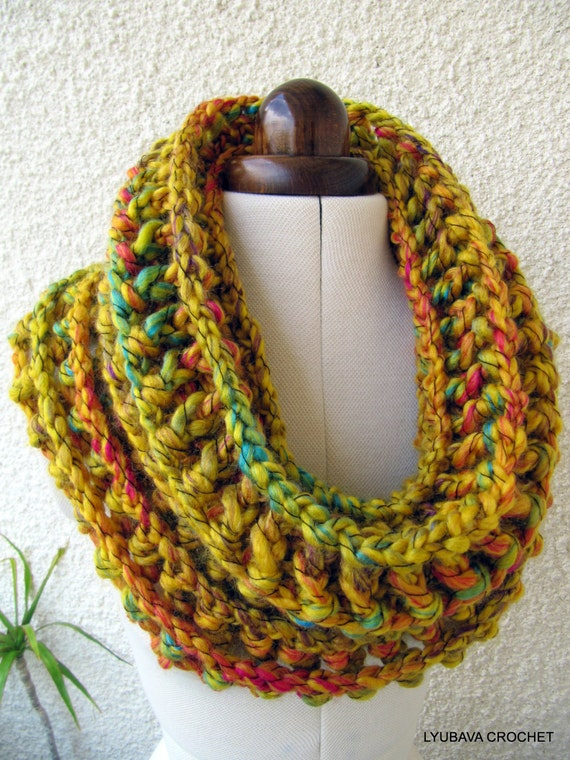Crochet Cowl Scarf Pattern Mustard Cowl Chunky Scarf
