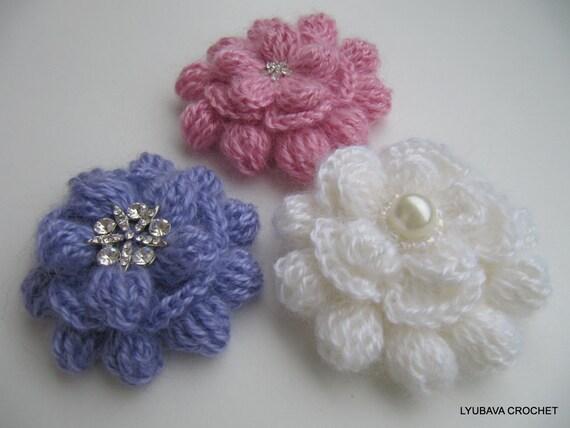 Crochet Flower Pattern Crochet Brooch Pattern Mohair Flower Etsy