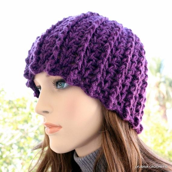 Crochet Hat Pattern Winter Hats For Women Purple Hat Diy Etsy