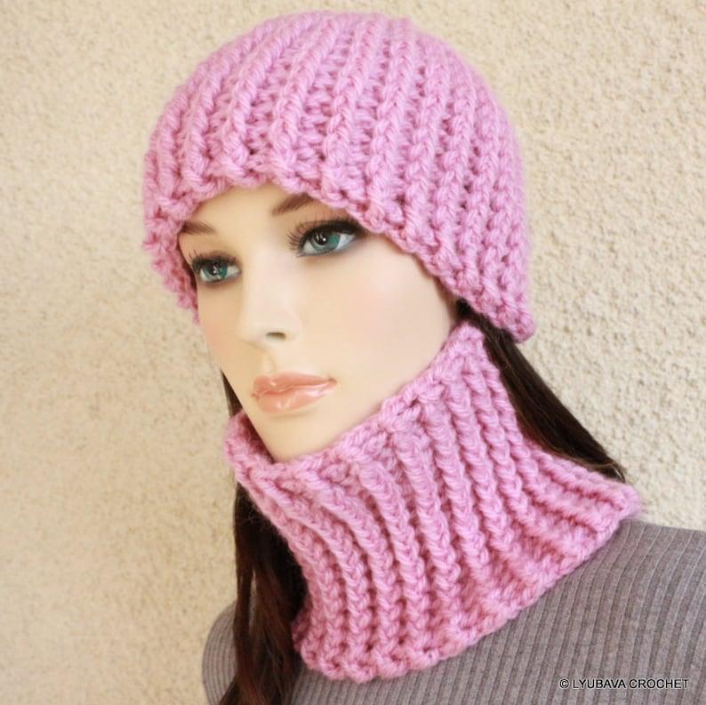 Crochet Set PATTERNS Winter Hat Women Neck Warmer Pattern  a7c80927362