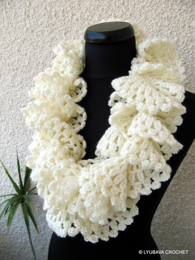 Crochet Ruffle Scarf Pattern Easy Crochet Scarf Diy Scarf Etsy