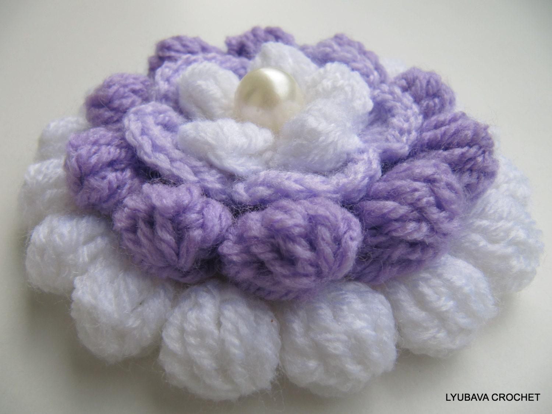 Crochet Flower Pattern Lilac Mosaic Flower 3d Flowers Etsy