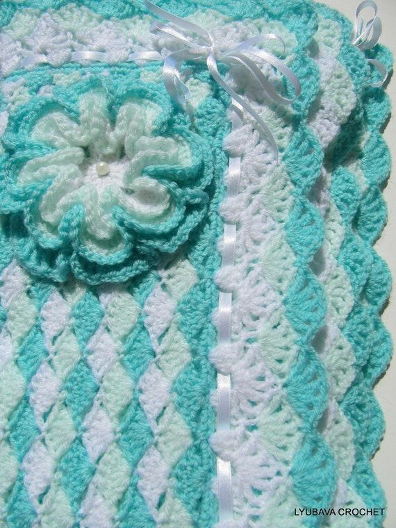 Crochet Pattern Baby Blanket Pattern Turquoise Sea Shell Etsy
