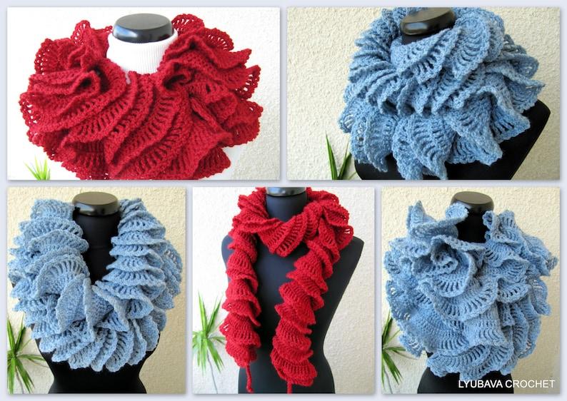 Crochet Scarf Pattern Ruffle Scarf Pattern Unique Crochet Etsy