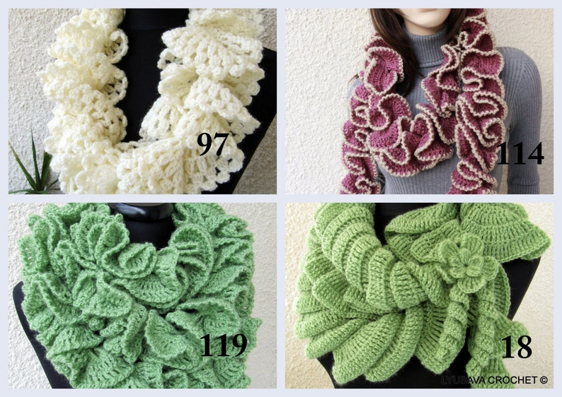 Crochet Ruffle Scarves Patterns Easy Scarf Diy Crochet Gifts Etsy