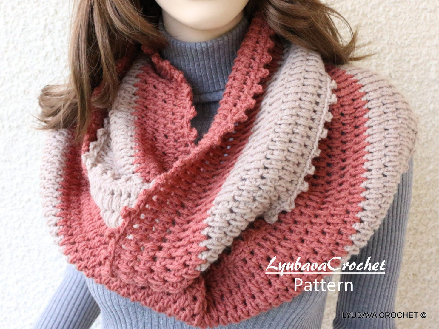 Crochet Infinity Scarf Pattern Scarf Two Colors Circle Etsy