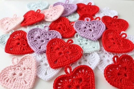 Small crochet heart pattern mini crochet heart applique etsy