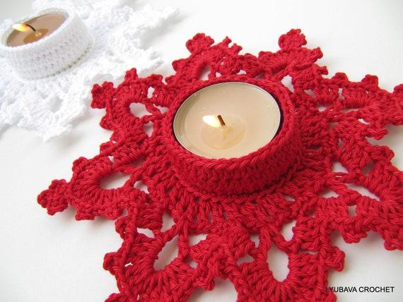 Christmas Crochet Pattern Tea Light Holder Melting Snowflake Etsy Awesome Christmas Crochet Patterns