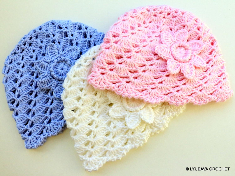 Crochet Pattern Baby Hat With Flower Pattern Baby Shower Etsy