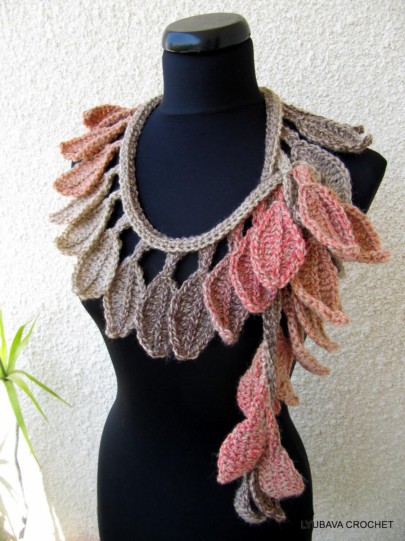 Crochet Pattern Autumn Scarf Autumn Leaves Fall Diy Scarf Etsy
