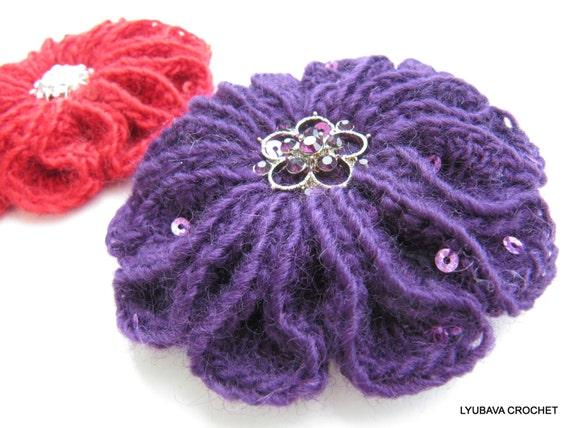 Crochet Flower Pattern Crochet Brooch Pattern 3d Flower Etsy